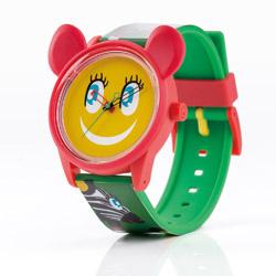 Q&Q solar kinderhorloge rood groen met gezicht