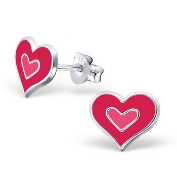Zilveren kinderoorbellen hartjes rood