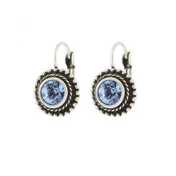 Biba oorbellen rond met blauwe steen