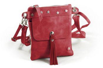 Heuptasje- telefoontasje met subtiele sterren-rood