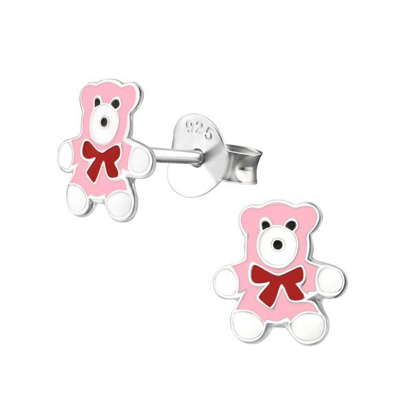 Kinderoorbellen zilver beren roze met strik