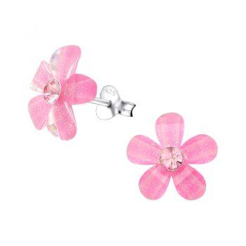 Oorbellen zilveren roze bloemetje met kristal