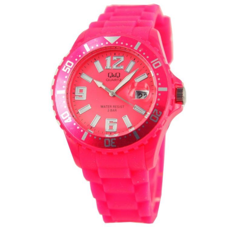 Q&Q quartz sportief roze unisex horloge| siliconen band