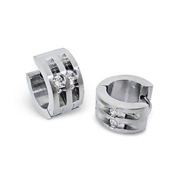 RVS oorbellen - klap creolen zilverkleurig | dubbele streep steentjes