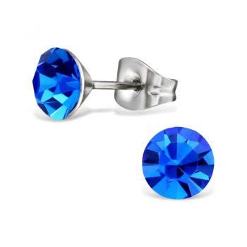 RVS oorbellen blauwe facet steen- 6 mm