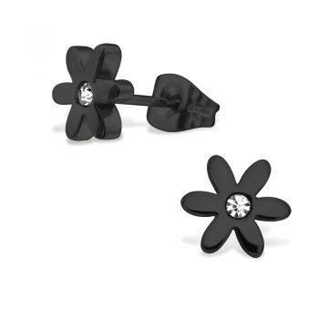RVS oorbellen bloem zwart met kristallen steentje
