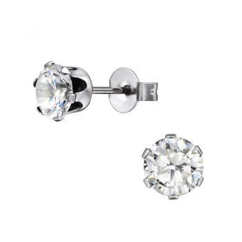 RVS oorbellen -zilverkleurig crystal zirkonia steen- 6mm