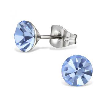 RVS oorbellen -zilverkleurig licht blauw