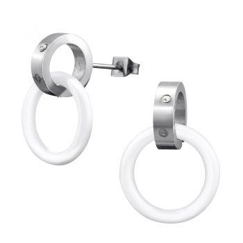RVS oorbellen-oorsteker open ring zilverkleurig