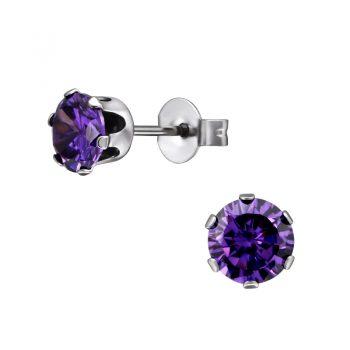RVS oorbellen -zilverkleurig paarse zirkonia steen-6 mm