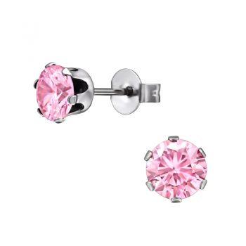 RVS oorbellen -zilverkleurig zirkonia steen-roze 6mm