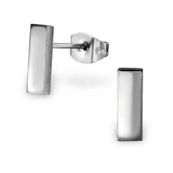 RVS oorbellen -zilverkleurig staafje