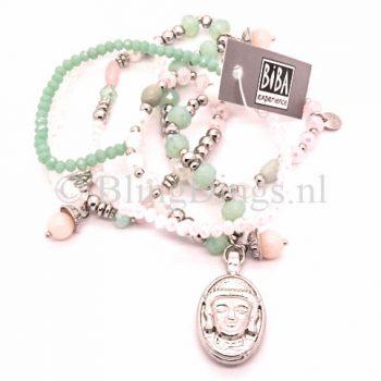 Biba sieraden ketting met zilveren boedha groen wit