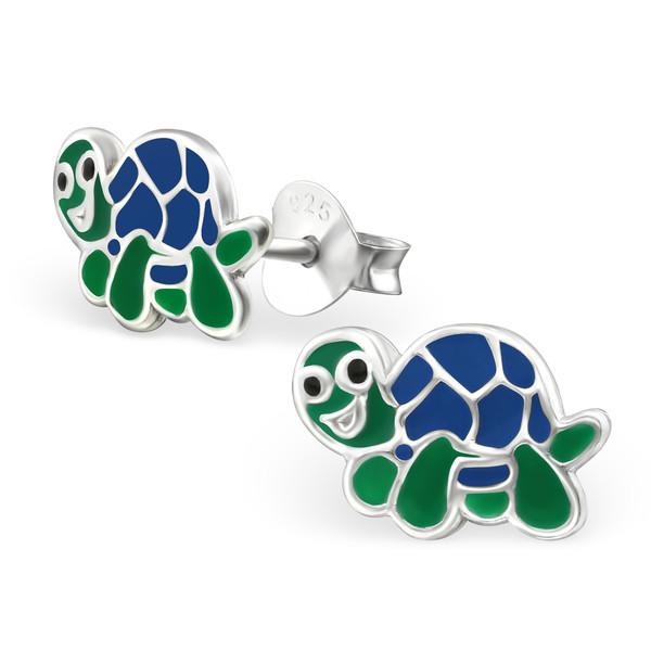 Kinderoorbellen schildpad blauw-groen gekleurd echt zilver