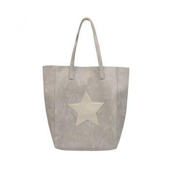 City shopper met binnentas - grijs-beige