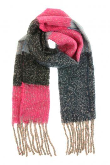 Extra lange sjaal grijs-fuchsia-blauw