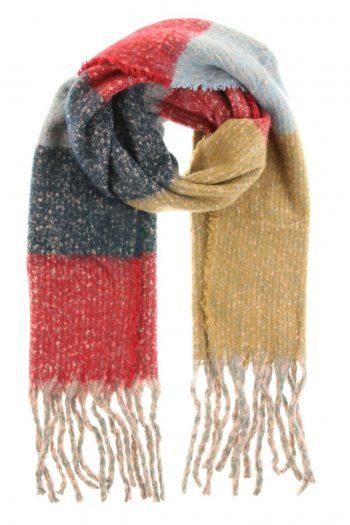 Extra lange sjaal rood-camel lekker warm