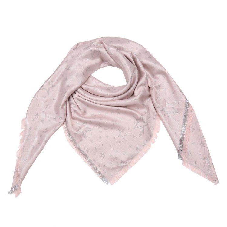 Grote vierkante sjaal roze met sterren