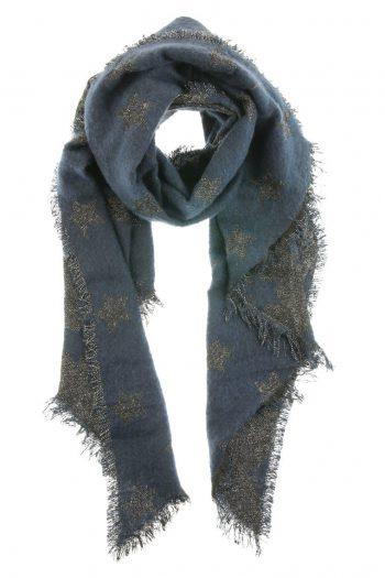 Grote sjaal met sterren-blauw warm en zacht