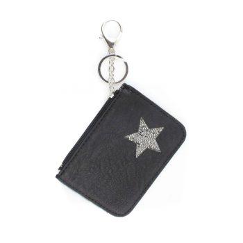 Kleine portemonnee met sleutelhanger-zwart