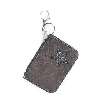 Kleine portemonnee met sleutelhanger-grijs bruin