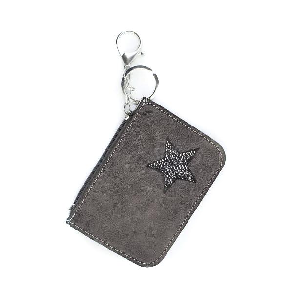 fbc39eb5786 Kleine portemonnee met sleutelhanger-grijs bruin - BlingDings