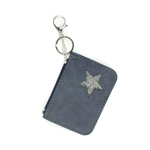 Kleine portemonnee met sleutelhanger-blauw