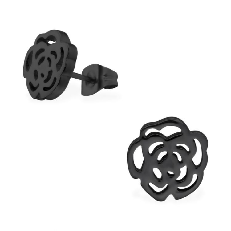 RVS oorbellen-open zwarte roos