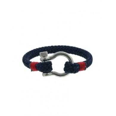 Heren armband blauw van koord met stainless steel sluiting