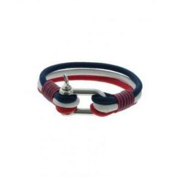 Heren armband koord rood-wit-blauw met stainless steel sluiting