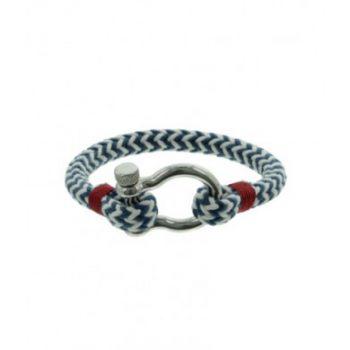 Heren armband koord blauw-wit met stainless steel sluiting