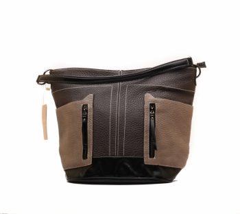 Zwart-bruine Giuliano tas met stoere ritsvakken