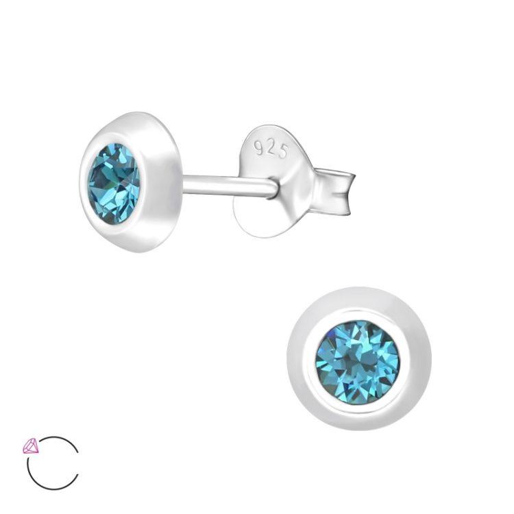 Zilveren oorbellen met Swarovski indicolite blauw
