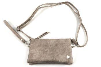 Clutch-tas-portemonnee in taupe met sterretje