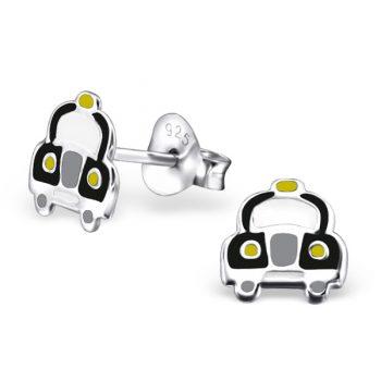Zilveren kinderoorbellen taxi zwart