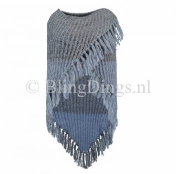 Omslag sjaal blauwtinten heerlijk warm gebreid