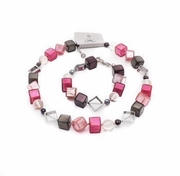 Set van ketting en armband Culture mix roze tinten