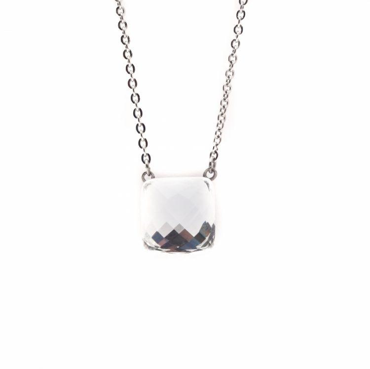 Viva luxury ketting vierkante facet geslepen steen- crystal