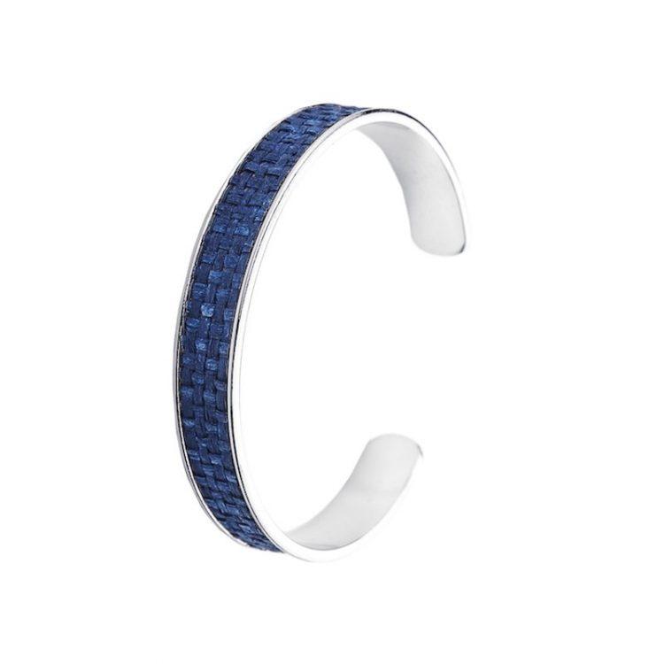 Viva Jewellery zilverkleurige armband gevlochten blauw