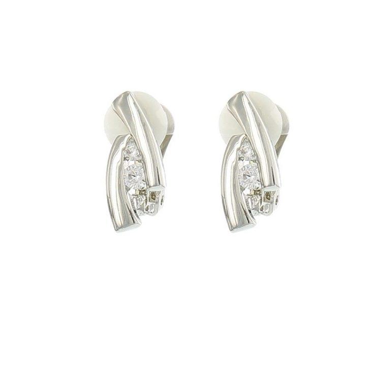 Viva classic oorclips effen met twee steentjes zilverkleurig