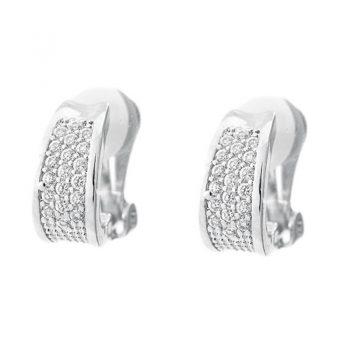 Viva classic oorclips met kleine kristallen steentjes zilverkleurig