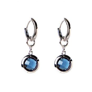 Viva fashion creolen met blauw steentje in ronde hanger