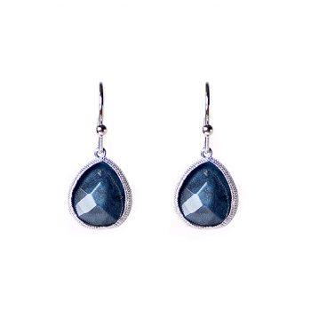 Viva fashion oorhanger blauwe druppel met zilverkleurig