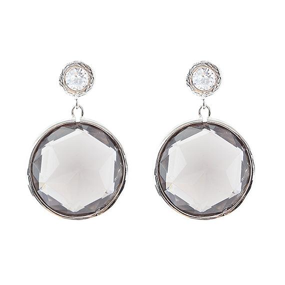 Viva fashion oorhangers rond-black diamond glazen steen
