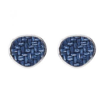 Viva classic oorbellen gevlochten driehoek blauw