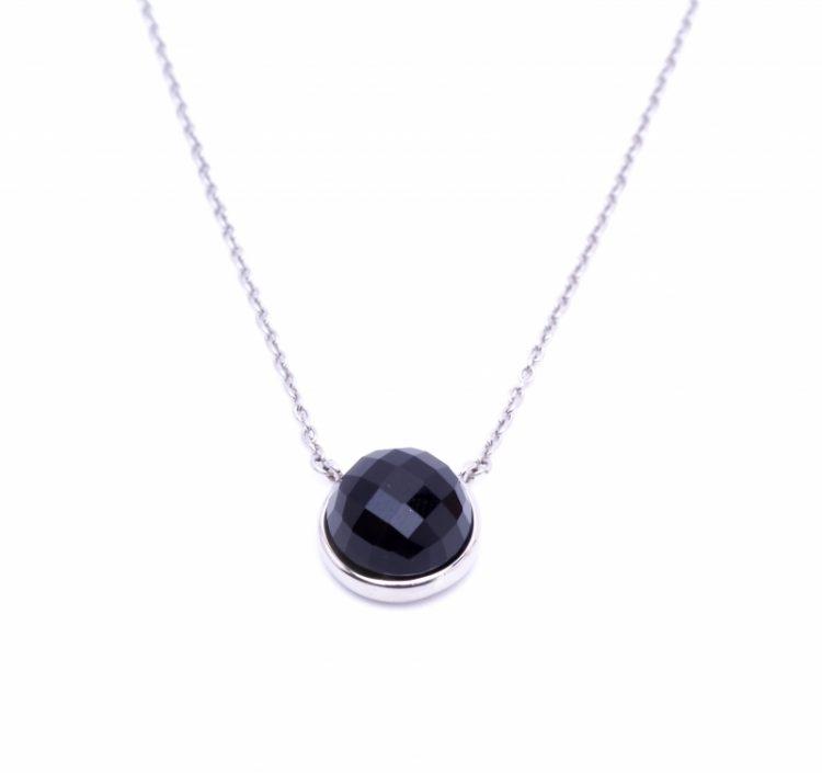 Viva luxury ketting facet geslepen steen rond-zwart