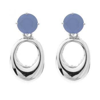 Viva oorbellen jeans blauwe steen met zilverkleurige ovale hanger