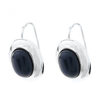 Viva fashion oorbellen ovale zwarte steen