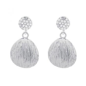 Viva fashion oorhangers gestreepte hanger zilverkleurig