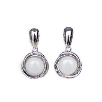 Viva fashion oorbellen melk-witte steen zilverkleurig
